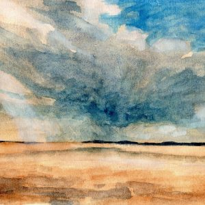 Watercolour Study of Morecambe Bay during a storm.